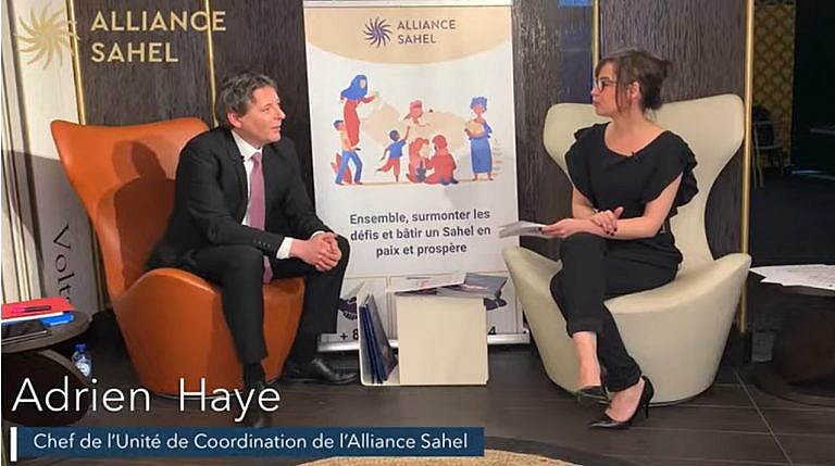 Conférence digitale organisée à l'occasion des 3 ans de l'Alliance Sahel (plateau de Bruxelles avec Adrien Haye, Directeur de l'Alliance Sahel)