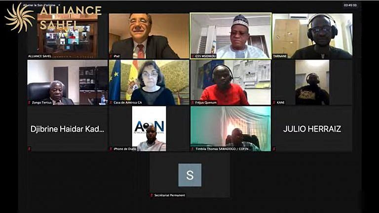 Intervenants de la conférence digitale organisée à l'occasion des 3 ans de l'Alliance Sahel.